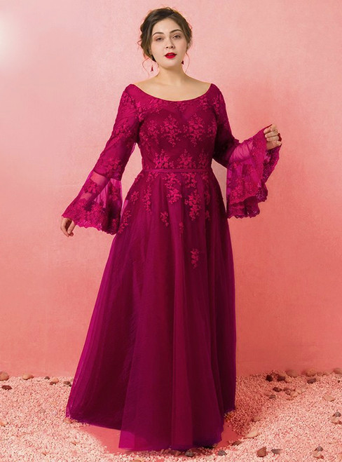 Plus Size Burgundy Long Sleeve Tulle Backless Prom Dress