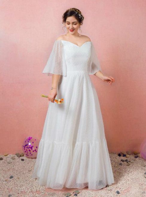 Plus Size A-line White Off the Shoulder Short Sleeve Prom Dress