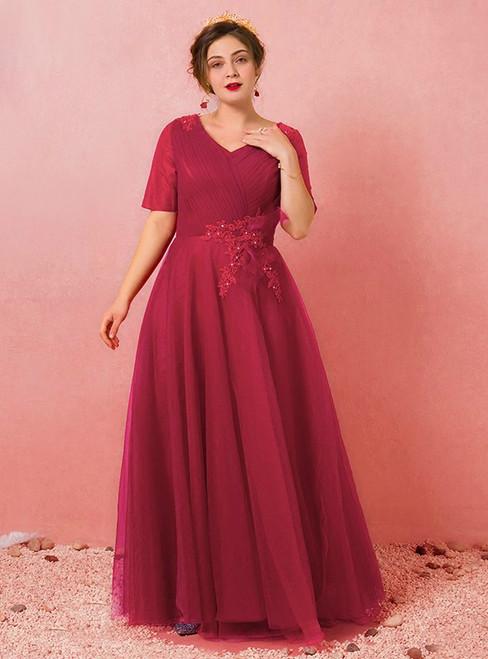 Plus Size Burgundy Short Sleeve V-neck Prom Dress