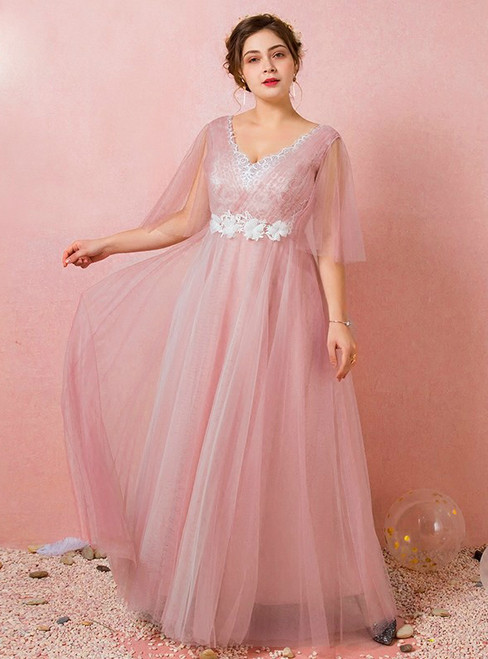 Plus Size Pink Tulle V-neck Backless Prom Dress