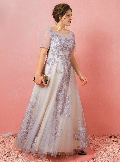 Plus Size Gray Tulle Short Sleeve Backless Prom Dress