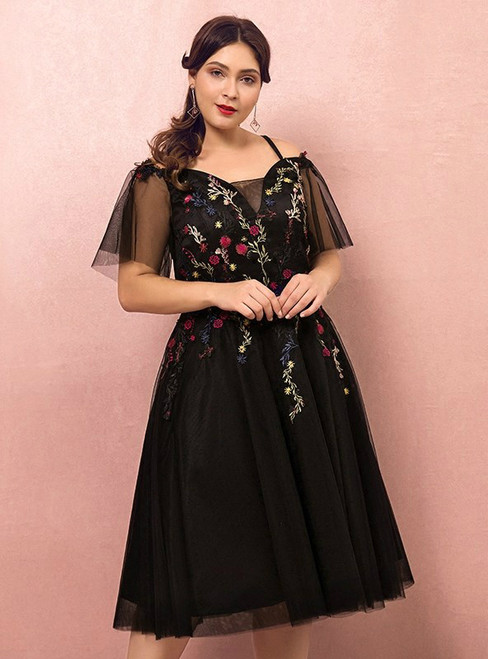 Plus Size Short Knee Length Tulle Appliques Prom Dress