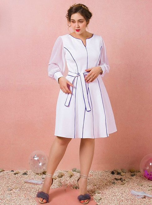 Plus Size Knee Length White Long Sleeve Prom Dress