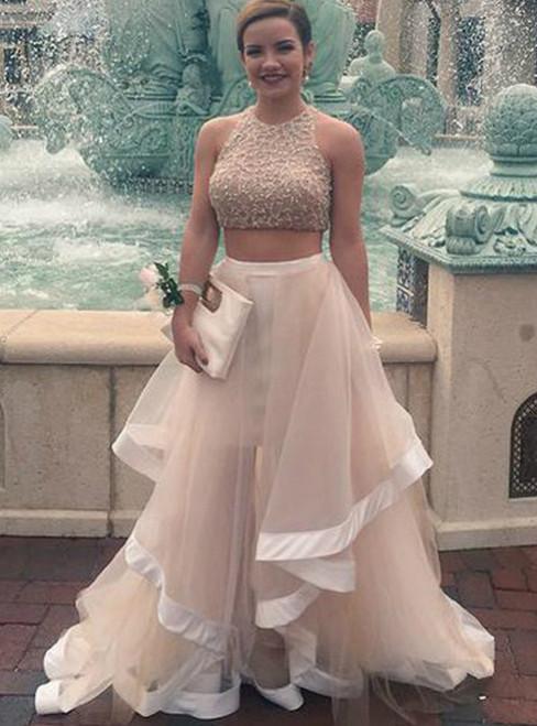 Gorgeous White Two Piece Tulle Beading Prom Dress