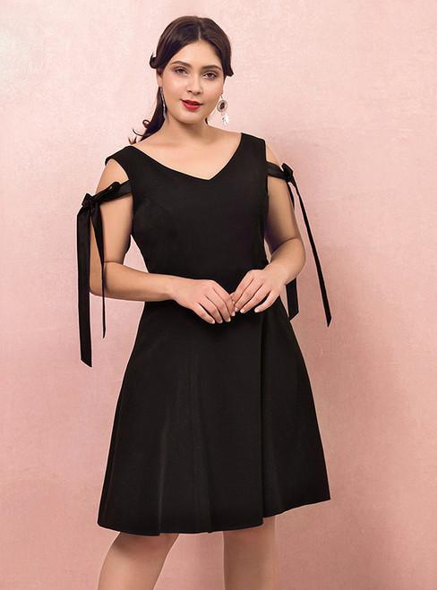 Plus Size Knee Length Satin V-neck Prom Dress