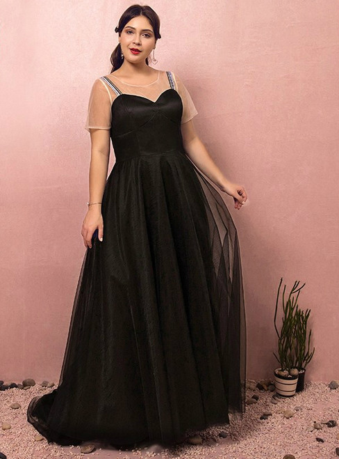 Plus Size Black Tulle Straps V-neck Prom Dress