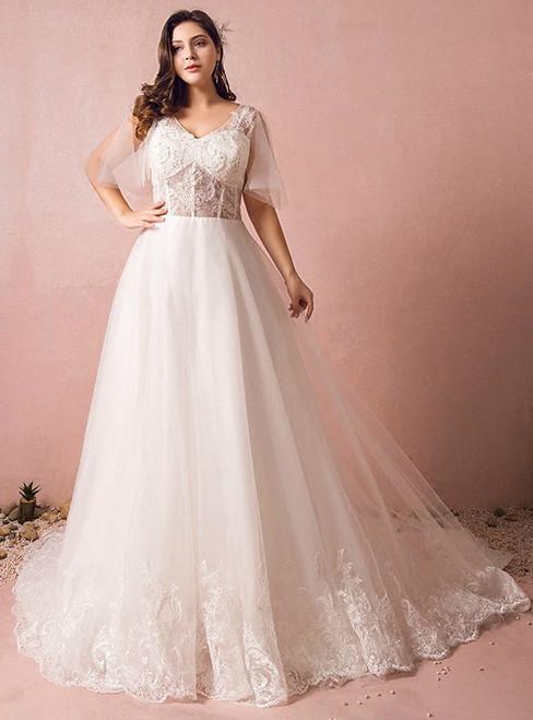 Plus Size White Tulle V-neck Backless Wedding Dress