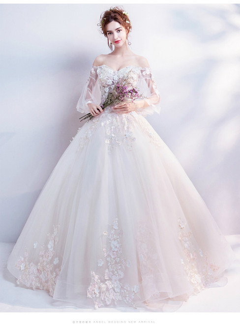 In Stock:Ship in 48 hours White Off The Shoulder Appliques Wedding Dress