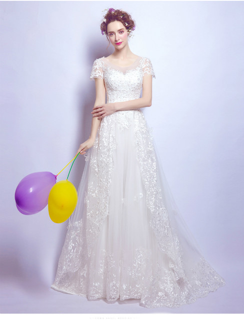 In Stock:Ship in 48 hours White Tulle Lace Wedding Dress