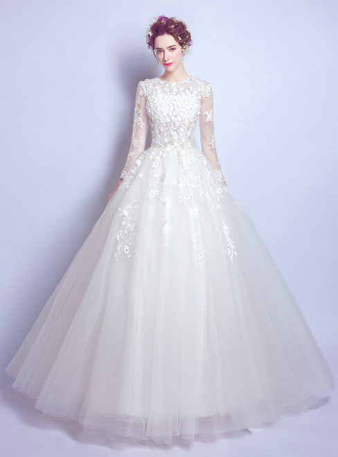 In Stock:Ship in 48 hours Ball Gown Long Sleeve White Tulle Wedding Dress