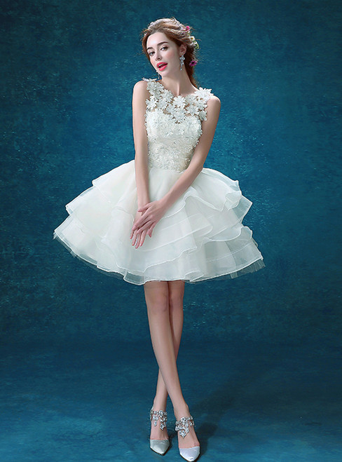 In Stock:Ship in 48 hours Organza Knee Length Wedding Dress