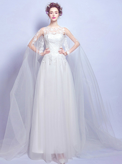 In Stock:Ship in 48 hours A-Line White Tulle Wedding Dress