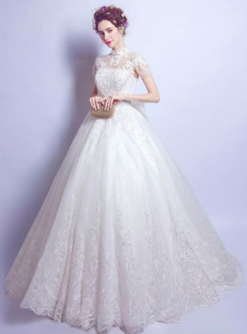In Stock:Ship in 48 hours Ball High Neck White Wedding Dress