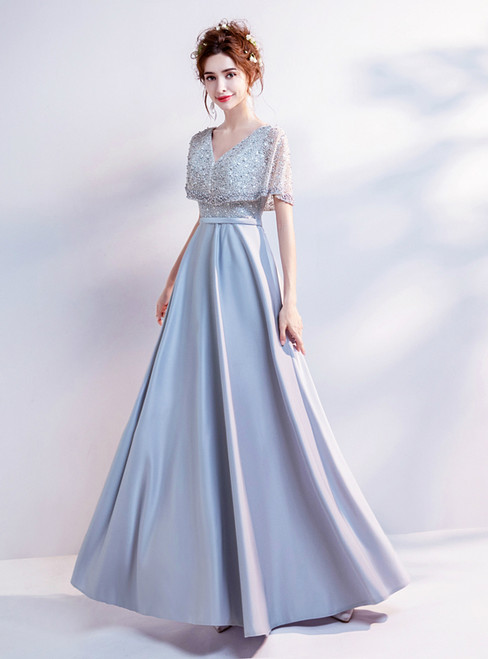 In Stock:Ship in 48 hours Gray Satin Beading Prom Dress