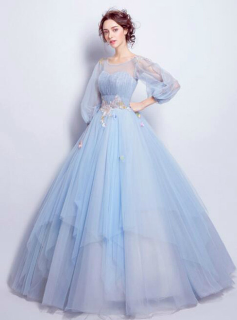 In Stock:Ship in 48 hours Ball Gown Blue Tulle Long Sleeve Wedding Dress