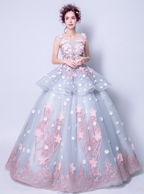 In Stock:Ship in 48 hours Blue Tulle Flower Wedding Dress