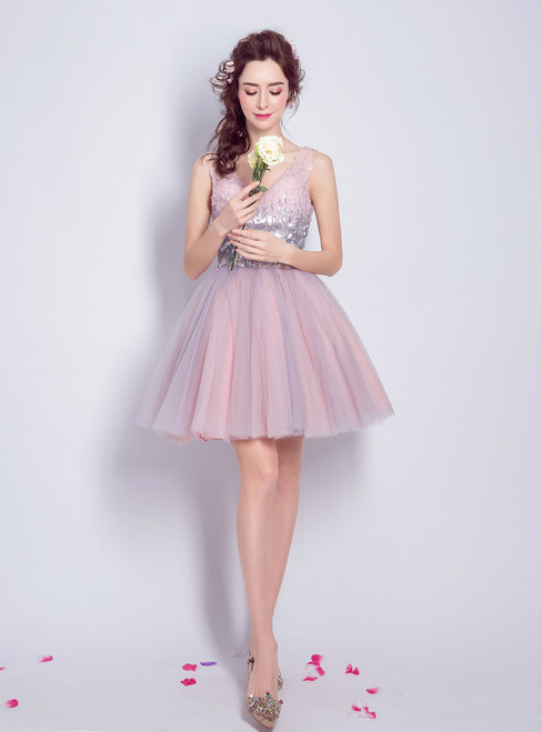 In Stock:Ship in 48 hours Pink V-Neck Tulle Homecoming Dress