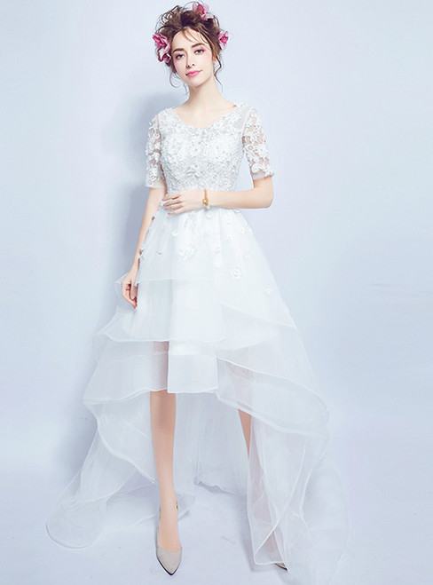 In Stock:Ship in 48 hours Hi Lo Short Sleeve Tulle Wedding Dress