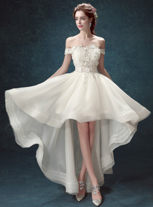 In Stock:Ship in 48 hours Off The Shoulder Lace Wedding Dress