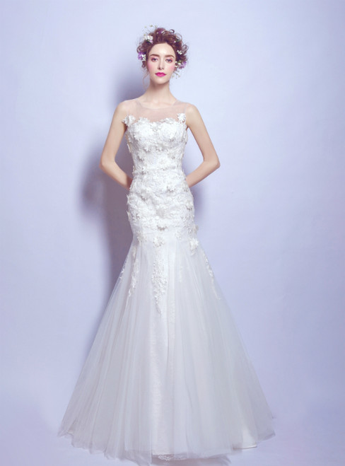 In Stock:Ship in 48 hours Mermaid Backless Appliques Wedding Dress