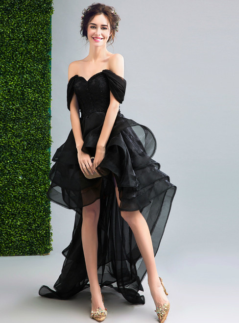 In Stock:Ship in 48 hours Off The Shoulder Black Prom Dress