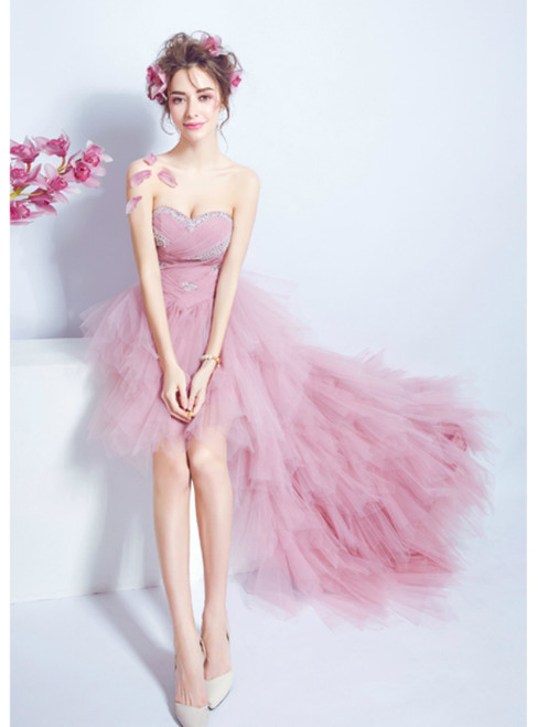 In Stock:Ship in 48 hours Hi Lo Pink Tulle Beading Prom Dress