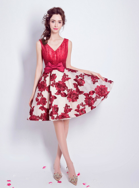 In Stock:Ship in 48 hours Red Tulle Knee Length Homecoming Dress