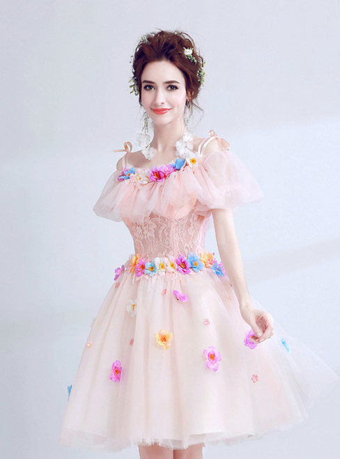In Stock:Ship in 48 hours Pink Tulle Flower Homecoming Dress
