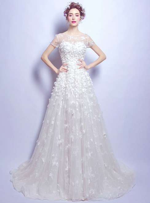 In Stock:Ship in 48 hours A-Line White Appliques Wedding Dress