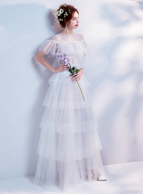 In Stock:Ship in 48 hours A-Line White Tulle Ruffle Wedding Dress