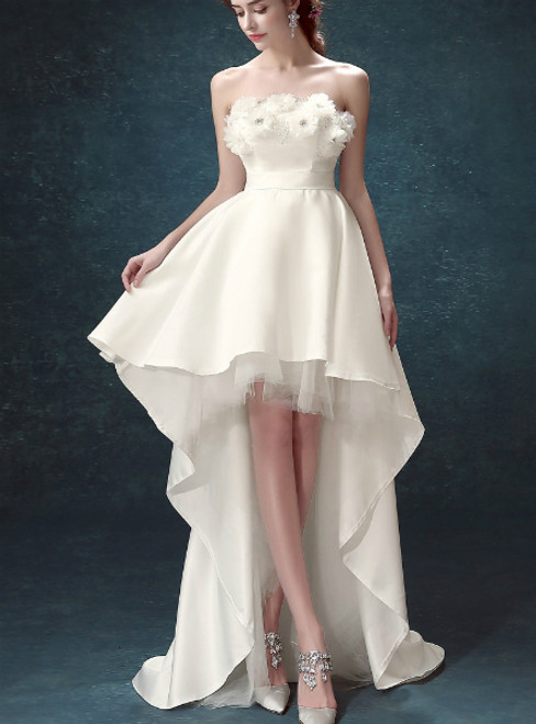 In Stock:Ship in 48 hours White Hi Lo Strapless Wedding Dress