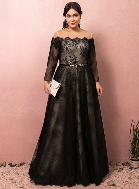 Plus Size Black Lace Long Sleeve Floor Length Prom Dress
