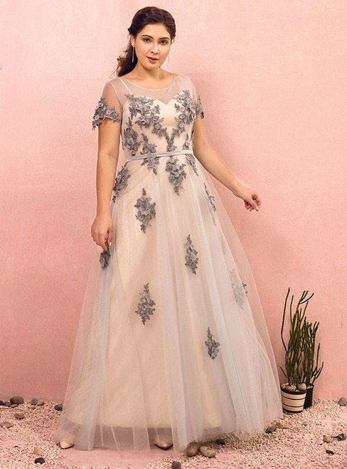 Plus Size Gray Tulle Appliques Cap Sleeve Prom Dress