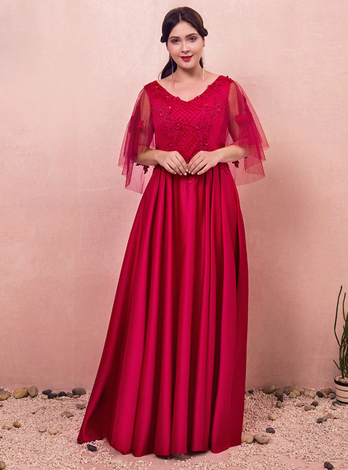 Plus Size Red Lace Appliques Red Satin Prom Dress