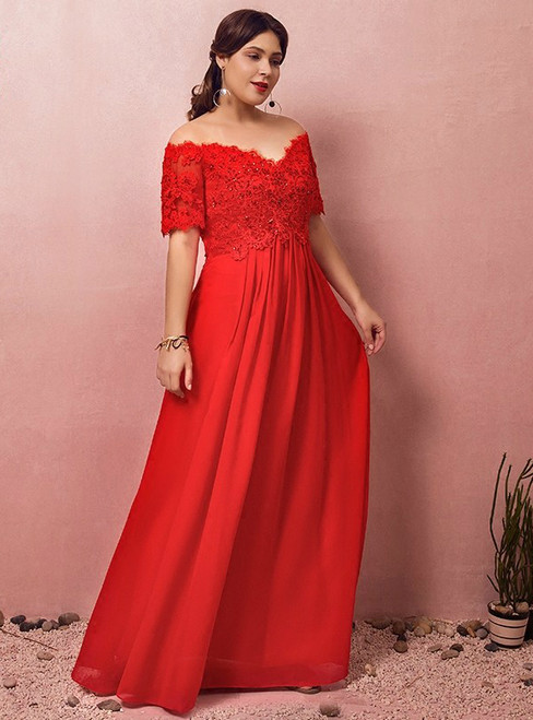 Plus Size Red Chiffon Off The Shoulder Appliques Beading Prom Dress