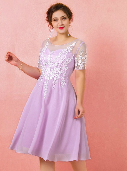 Plus Size Short Chiffon Appliques Short Sleeve Prom Dress