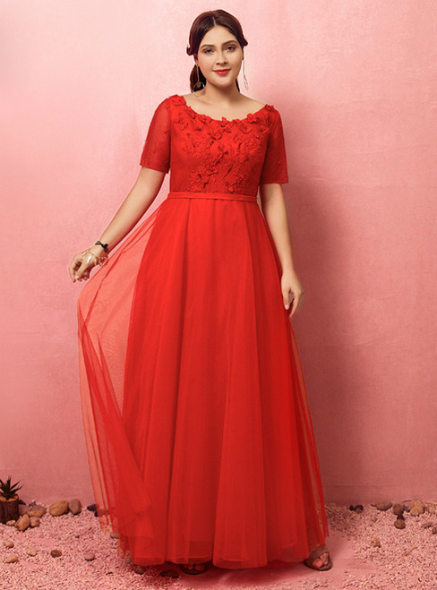 Plus Size Red Tulle Flower Short Sleeve Prom Dress