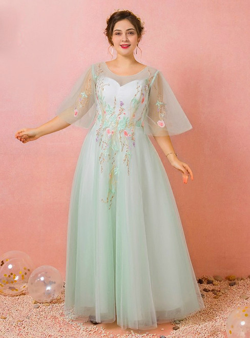 Plus Size Green Embroidery Tulle Backless Prom Dress
