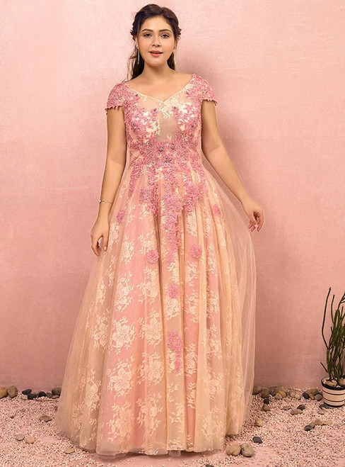 Plus Size Pink Lace Appliques Backless Prom Dress