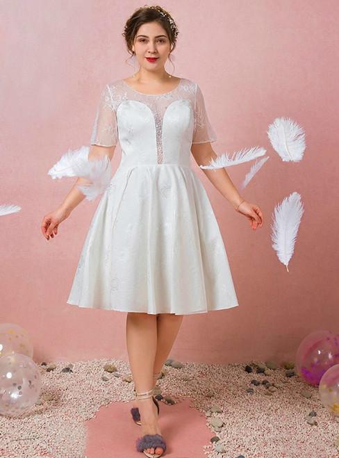 Plus Size Short Knee Length Lace Short Sleeve Wedding Dress