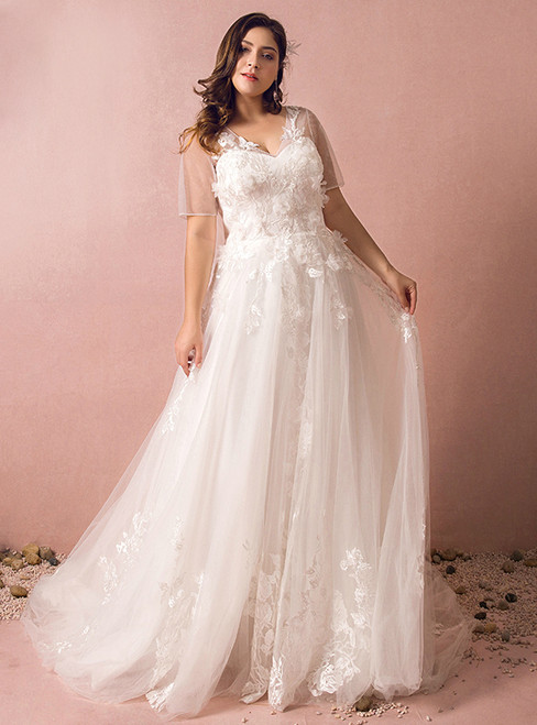 Plus Size White Tulle Appliques Short Sleeve Wedding Dress