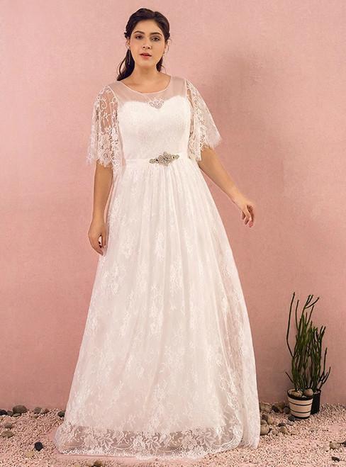 Plus Size White Lace Short Sleeve Sash Zipper Up Wedding Dress
