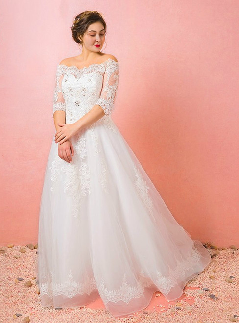 Plus Size Tulle Lace Off The Shoulder Half Sleeve Wedding Dress