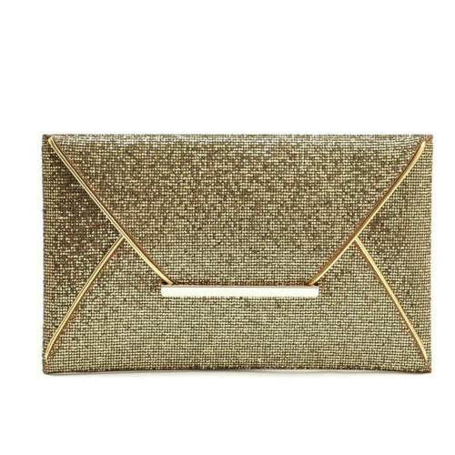 Women Evening Party Bags Gold Sequins Envelope Bag Purse Clutch