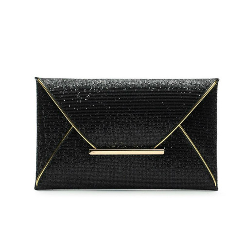 Black Sequins Envelope Bag Purse Clutch Handbags