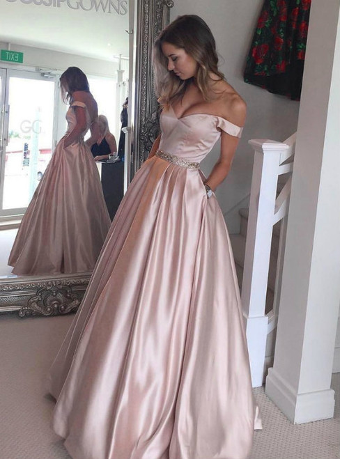 Pleated Pink Off the Shoulder Satin Long Prom Dresses With Pocket