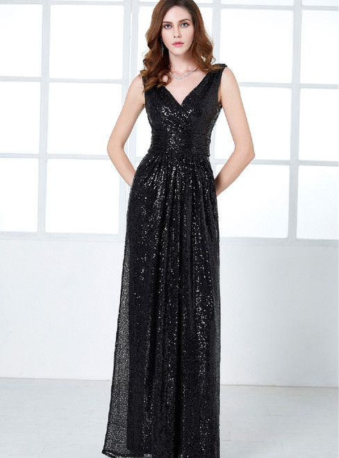 In Stock:Ship in 48 hours Black Halter Sequins Prom Dress