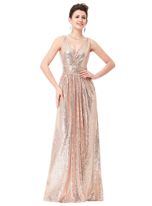 In Stock:Ship in 48 hours Pink Halter Sequins Prom Dress
