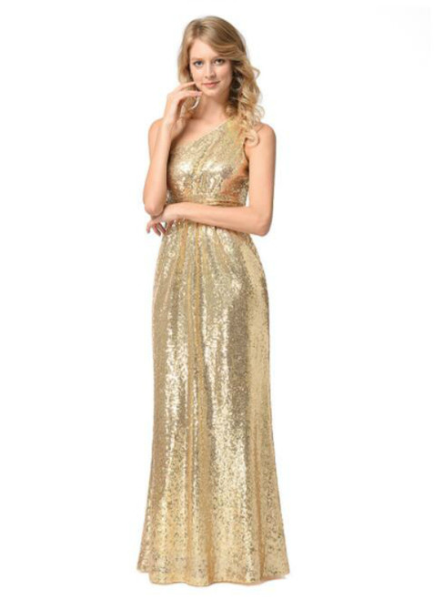 In Stock:Ship in 48 hours One Shoulder Sequins Prom Dress