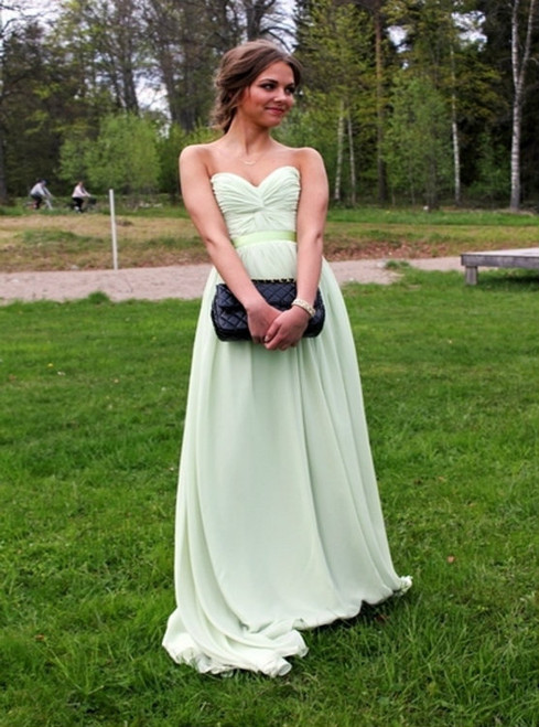 A-Line Sweetheart Prom Dresses Long,Floor Length Green Prom Dress